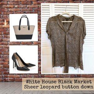 White House Black Market sheer leopard shirt